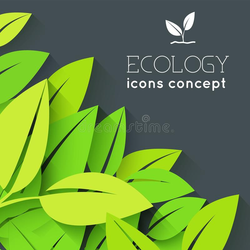 Έννοια υποβάθρου φύλλων Eco Διανυσματικό σχέδιο απεικόνισης απεικόνιση αποθεμάτων