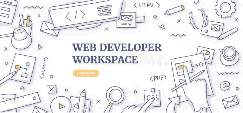 Έννοια υποβάθρου Doodle χώρου εργασίας υπεύθυνων για την ανάπτυξη Ιστού διανυσματική απεικόνιση