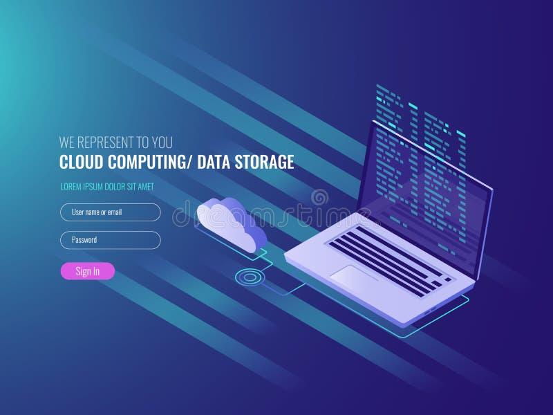 Έννοια υπολογισμού σύννεφων, ανοικτό lap-top με το εικονίδιο σύννεφων και κώδικας προγράμματος στους βράχους σε λόφο, αποθήκευση  απεικόνιση αποθεμάτων