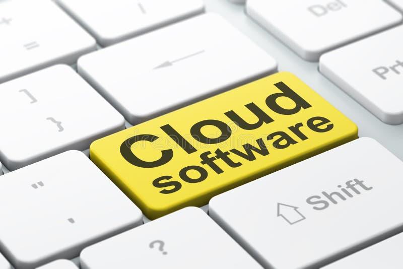 Έννοια υπολογισμού σύννεφων: Λογισμικό σύννεφων στο υπόβαθρο πληκτρολογίων υπολογιστών ελεύθερη απεικόνιση δικαιώματος