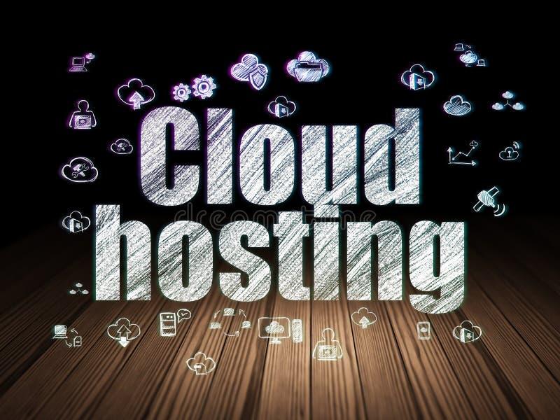 Έννοια υπολογισμού σύννεφων: Φιλοξενία σύννεφων στο σκοτεινό δωμάτιο grunge ελεύθερη απεικόνιση δικαιώματος