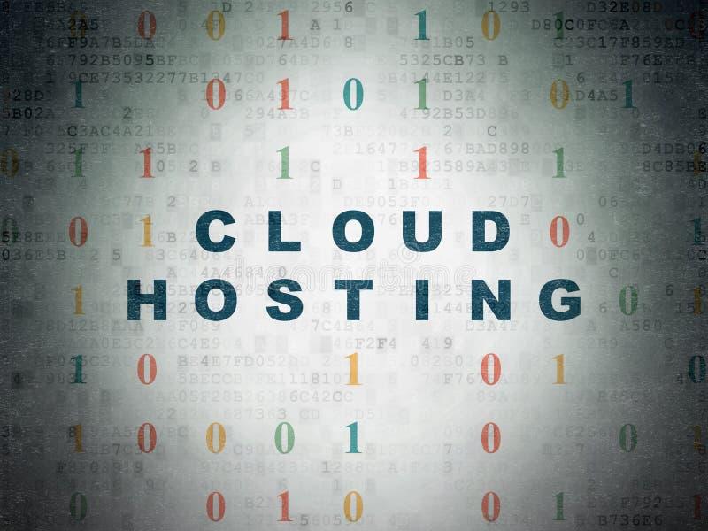 Έννοια υπολογισμού σύννεφων: Φιλοξενία σύννεφων στο υπόβαθρο εγγράφου ψηφιακών στοιχείων ελεύθερη απεικόνιση δικαιώματος