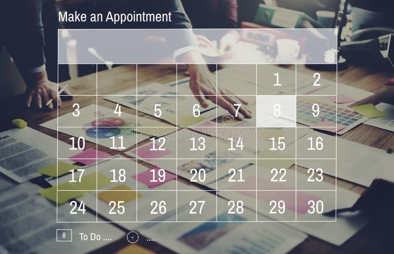 Έννοια υπομνημάτων συνεδρίασης του γεγονότος ημέρας ημερολογιακού διορισμού στοκ εικόνες