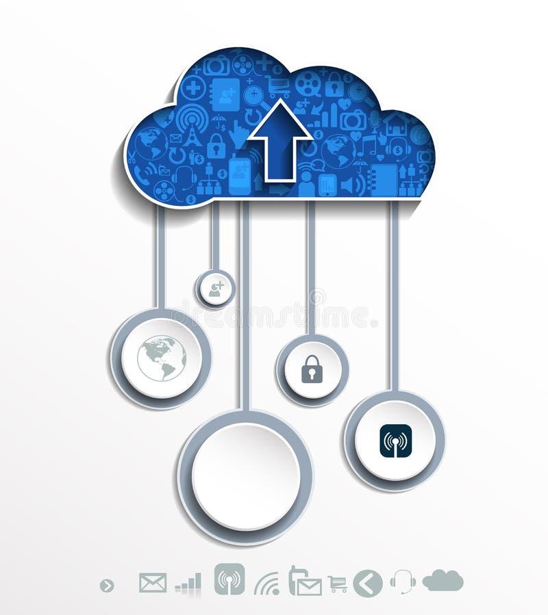 Έννοια υπολογισμού σύννεφων με τα εικονίδια διανυσματική απεικόνιση