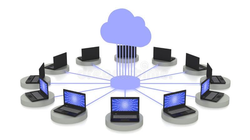 Έννοια υπολογισμού σύννεφων στο λευκό με τα συνδεδεμένα lap-top διανυσματική απεικόνιση