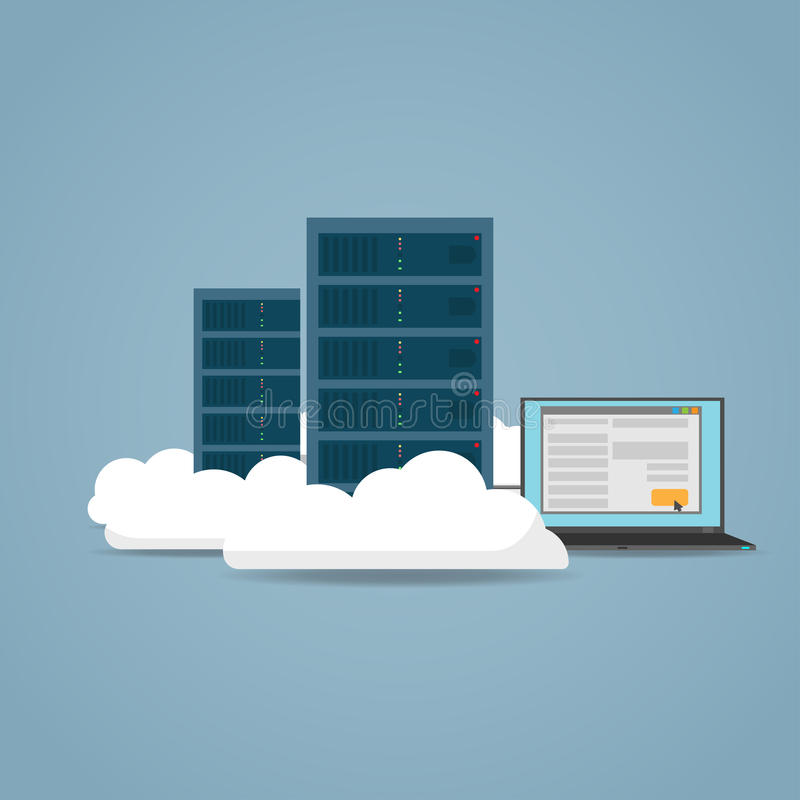 Έννοια υπολογιστών σύννεφων ελεύθερη απεικόνιση δικαιώματος