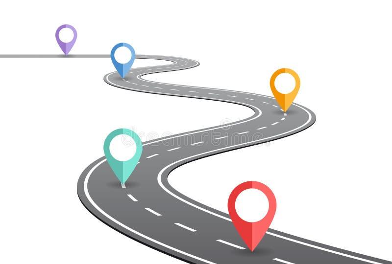 Έννοια υπόδειξης ως προς το χρόνο δρόμων με πολλ'ες στροφές διανυσματική απεικόνιση