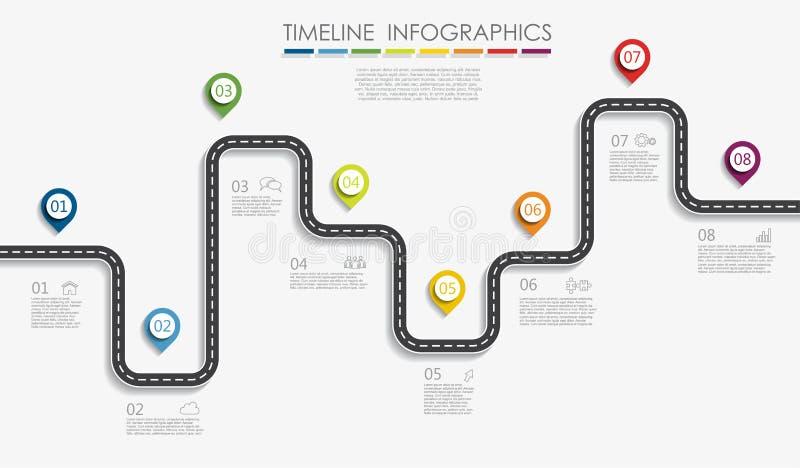 Έννοια υπόδειξης ως προς το χρόνο ναυσιπλοΐας roadmap infographic με τη θέση για τα στοιχεία σας επίσης corel σύρετε το διάνυσμα  διανυσματική απεικόνιση