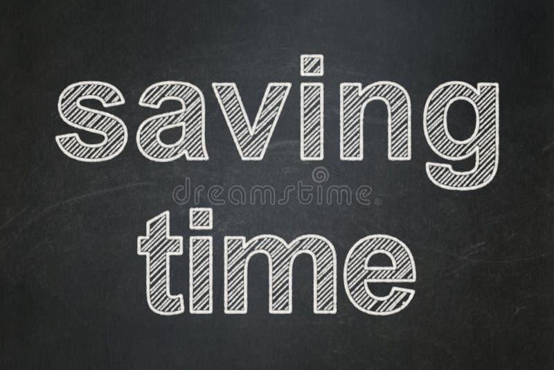 Έννοια υπόδειξης ως προς το χρόνο: Χρόνος αποταμίευσης στο υπόβαθρο πινάκων κιμωλίας απεικόνιση αποθεμάτων