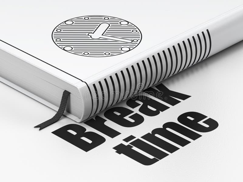 Έννοια υπόδειξης ως προς το χρόνο: ρολόι βιβλίων, χρόνος σπασιμάτων στο λευκό στοκ φωτογραφία