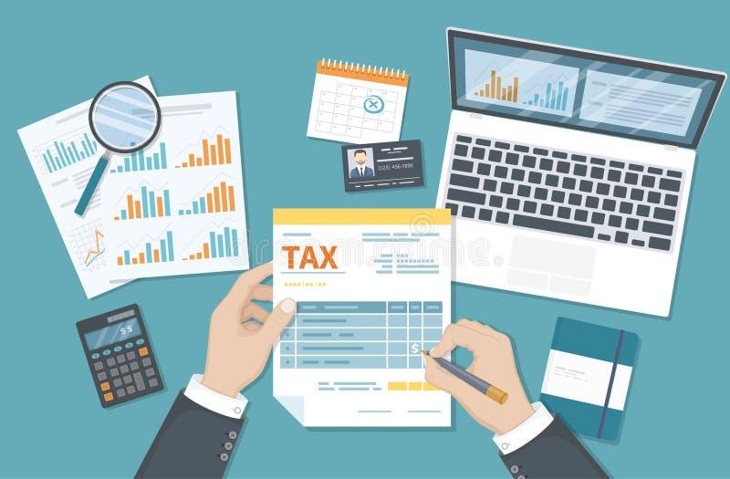 Έννοια φορολογικής πληρωμής Φορολογία κυβέρνησης, υπολογισμός της φορολογικής επιστροφής Το άτομο γεμίζει τη φορολογική μορφή, έγ ελεύθερη απεικόνιση δικαιώματος