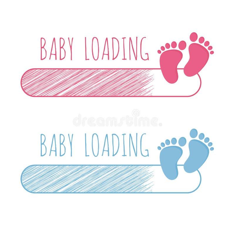 Έννοια φόρτωσης μωρών με το φραγμό προόδου και το ρόδινο και μπλε σύνολο απεικόνισης βημάτων διανυσματικό ελεύθερη απεικόνιση δικαιώματος