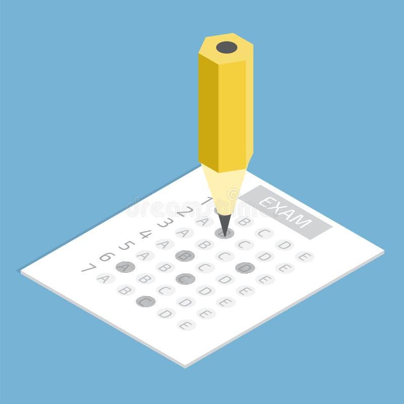 Έννοια φύλλων απάντησης δοκιμής isometric επίσης corel σύρετε το διάνυσμα απεικόνισης ελεύθερη απεικόνιση δικαιώματος