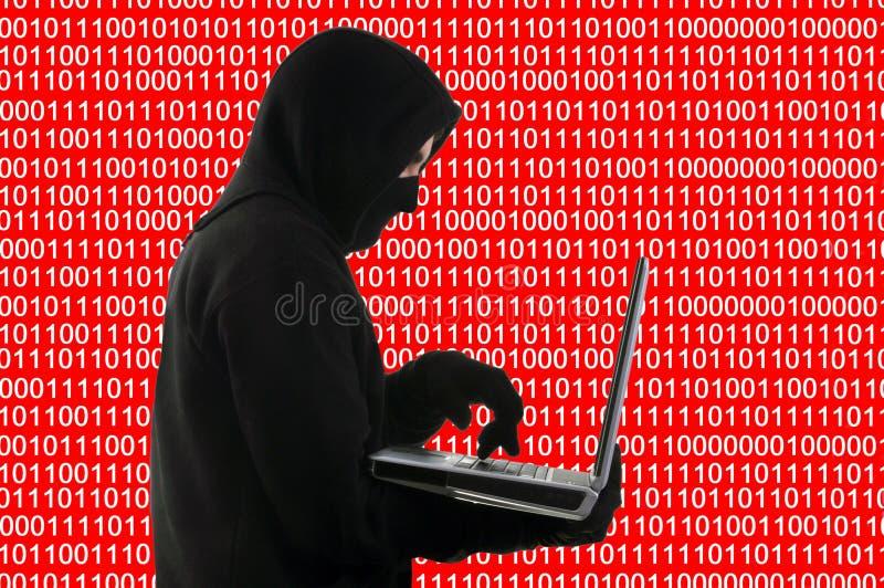 Έννοια χάκερ σε ένα υπόβαθρο του δυαδικού κώδικα στοκ εικόνα με δικαίωμα ελεύθερης χρήσης