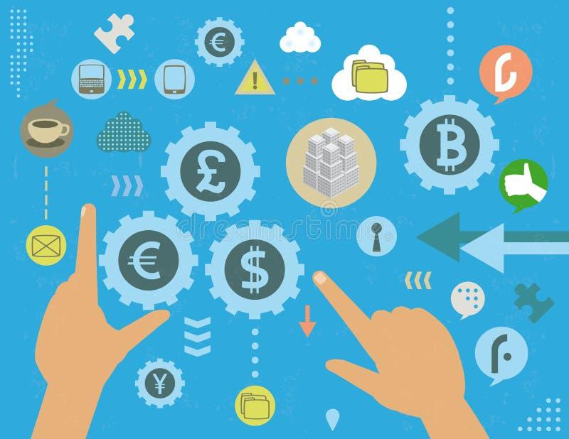 Έννοια χειρισμού ανταλλαγής νομίσματος διανυσματική απεικόνιση