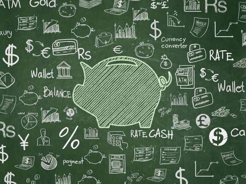 Έννοια χρημάτων: Κιβώτιο χρημάτων στο υπόβαθρο σχολικών πινάκων στοκ φωτογραφία