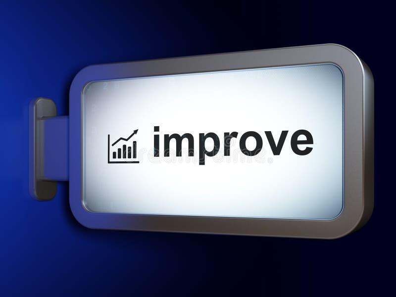 Έννοια χρηματοδότησης: Βελτιωθείτε και γραφική παράσταση αύξησης στο υπόβαθρο πινάκων διαφημίσεων διανυσματική απεικόνιση
