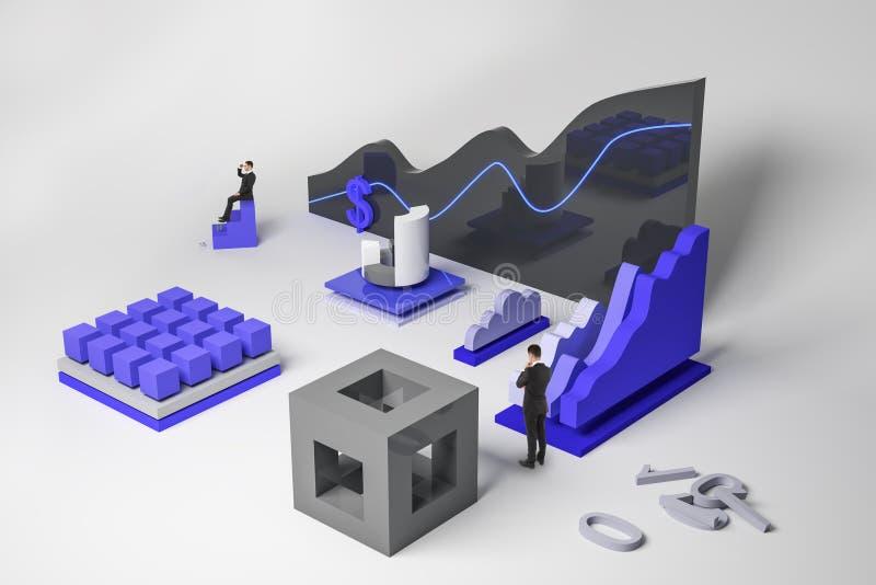 Έννοια χρηματοδότησης και εμπορικών συναλλαγών διανυσματική απεικόνιση