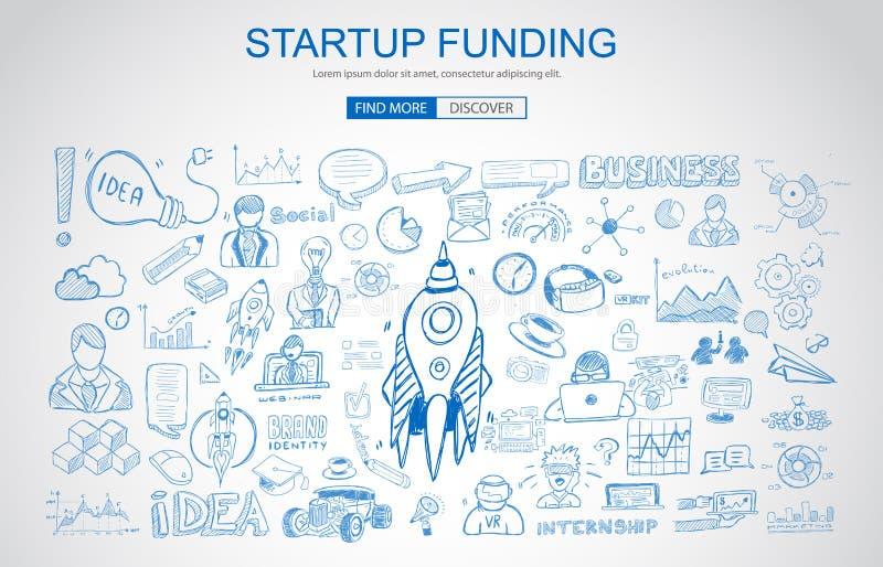 Έννοια χρηματοδότησης κεφαλαίου επιχειρηματικού κινδύνου με το ύφος σχεδίου επιχειρησιακού Doodle ελεύθερη απεικόνιση δικαιώματος