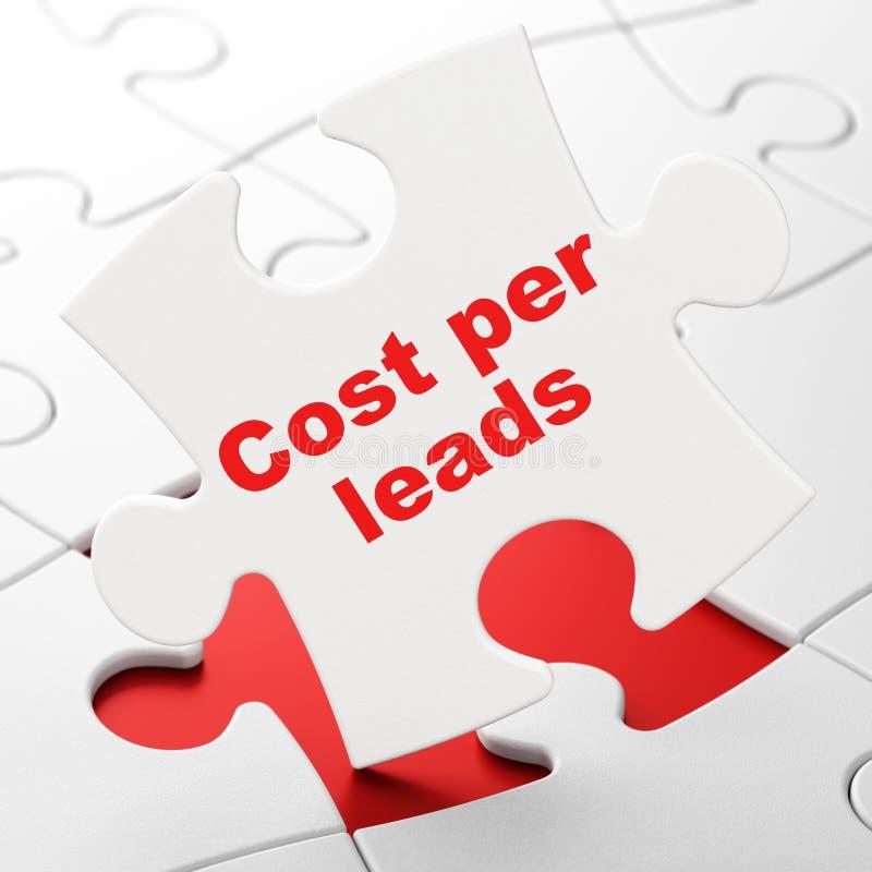 Έννοια χρηματοδότησης: Κόστος ανά μολύβδους στο υπόβαθρο γρίφων απεικόνιση αποθεμάτων