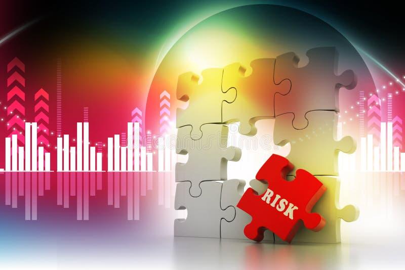 Έννοια χρηματοδότησης: Κίνδυνος στο κόκκινο κομμάτι γρίφων διανυσματική απεικόνιση