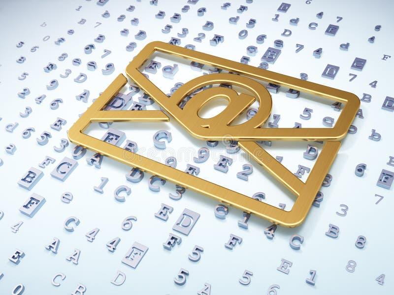 Έννοια χρηματοδότησης: Χρυσό ηλεκτρονικό ταχυδρομείο σε ψηφιακό διανυσματική απεικόνιση