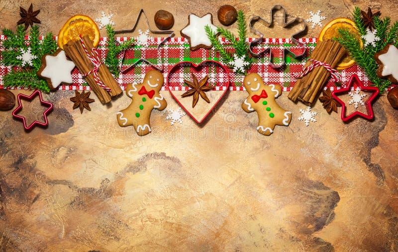 Έννοια Χριστουγέννων με τα μπισκότα στοκ φωτογραφίες