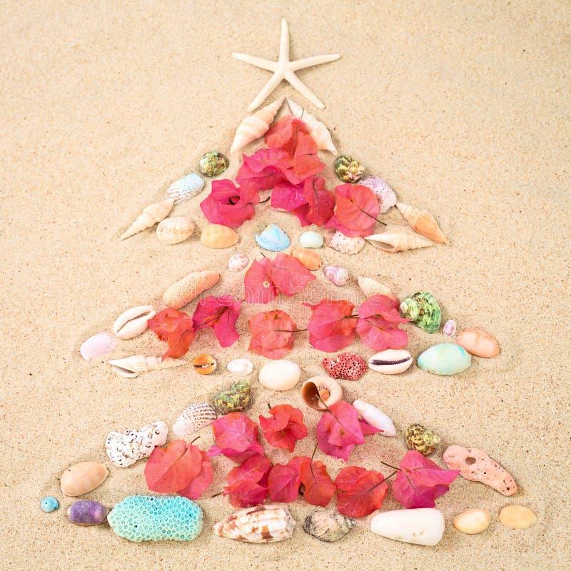 Έννοια Χριστουγέννων παραλιών στην άμμο ως χριστουγεννιάτικο δέντρο με τα κοχύλια και το φ στοκ φωτογραφίες