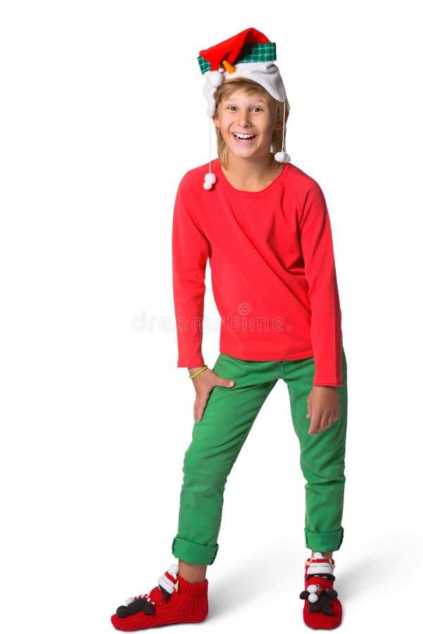 a9e35fb9696 Έννοια Χριστουγέννων χειμερινών διακοπών - αγόρι στο santa στοκ φωτογραφίες