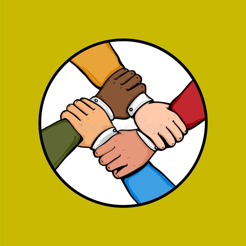 Έννοια χτισίματος ομάδας Cosmopolite Σωρός των επιχειρησιακών χεριών Πολυεθνική ομαδική εργασία συνεργασίας, ομάδα, διεθνής ελεύθερη απεικόνιση δικαιώματος