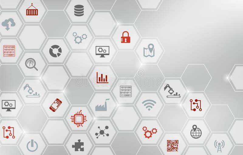 Έννοια ψηφιοποίησης: επιχείρηση IoT, έξυπνο εργοστάσιο, βιομηχανία 4 0 - απεικόνιση διανυσματική απεικόνιση