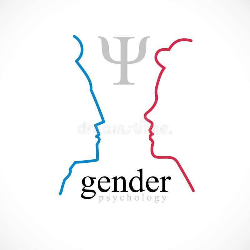 Έννοια ψυχολογίας γένους που δημιουργείται με το profi κεφαλιών ανδρών και γυναικών απεικόνιση αποθεμάτων