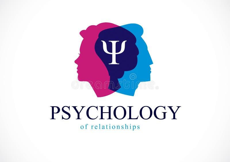 Έννοια ψυχολογίας σχέσης που δημιουργείται με τα κεφάλια ανδρών και γυναικών ελεύθερη απεικόνιση δικαιώματος