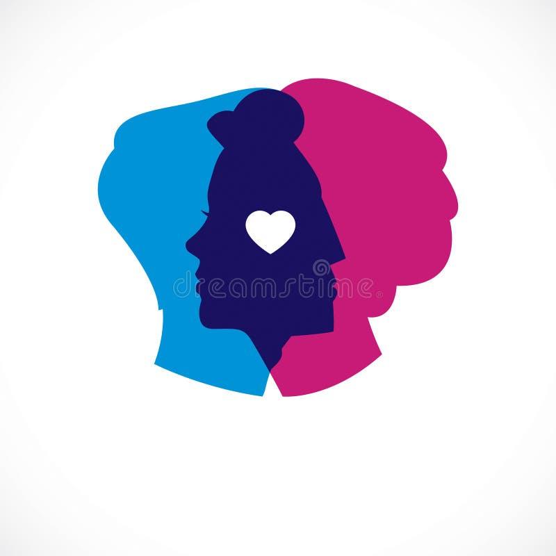 Έννοια ψυχολογίας σχέσης που δημιουργείται με τα κεφάλια ανδρών και γυναικών διανυσματική απεικόνιση