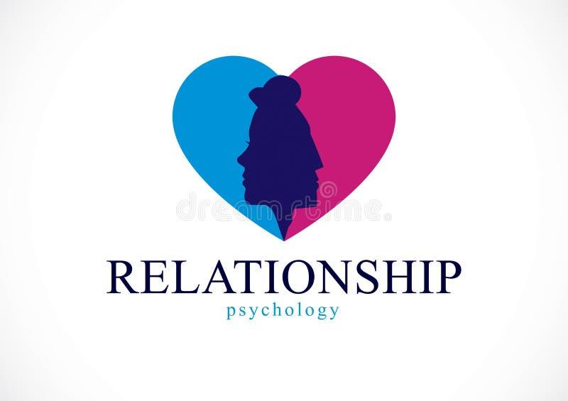 Έννοια ψυχολογίας σχέσης που δημιουργείται με τα κεφάλια ανδρών και γυναικών απεικόνιση αποθεμάτων