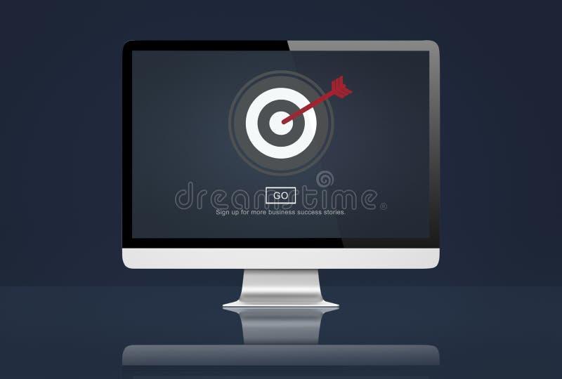 Έννοια λύσης αποστολής μάρκετινγκ στόχων διανυσματική απεικόνιση