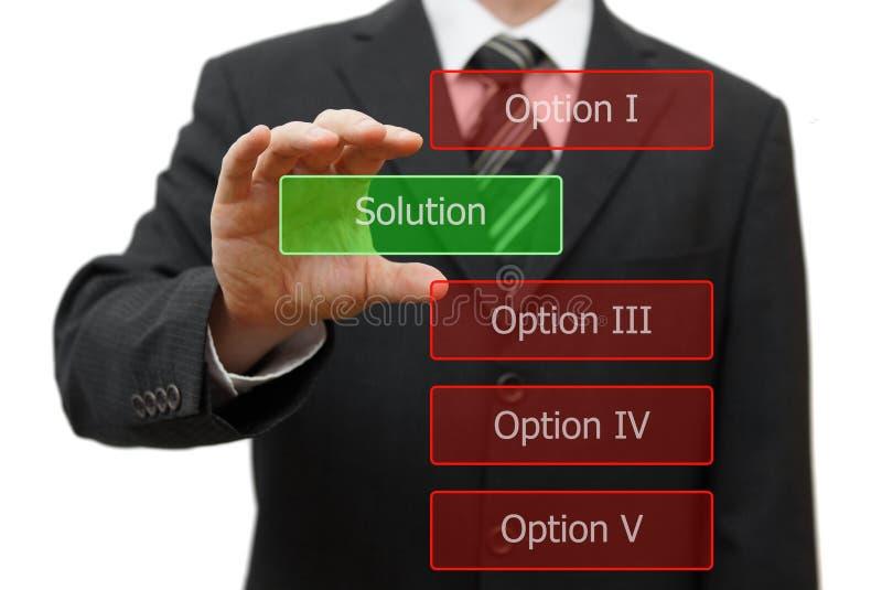 Έννοια λύσης, επιχειρηματίας που επιλέγει τη σωστή λύση στοκ φωτογραφία με δικαίωμα ελεύθερης χρήσης