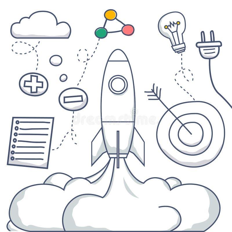 Έννοια ύφους Doodle της αύξησης σταδιοδρομίας, διαχείριση ξεκίνημα, σκάλα σταδιοδρομίας, εταιρικές ευκαιρίες, του ανθρώπινου δυνα ελεύθερη απεικόνιση δικαιώματος
