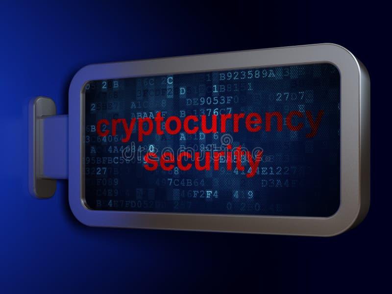 Έννοια Blockchain: Ασφάλεια Cryptocurrency στο υπόβαθρο πινάκων διαφημίσεων διανυσματική απεικόνιση