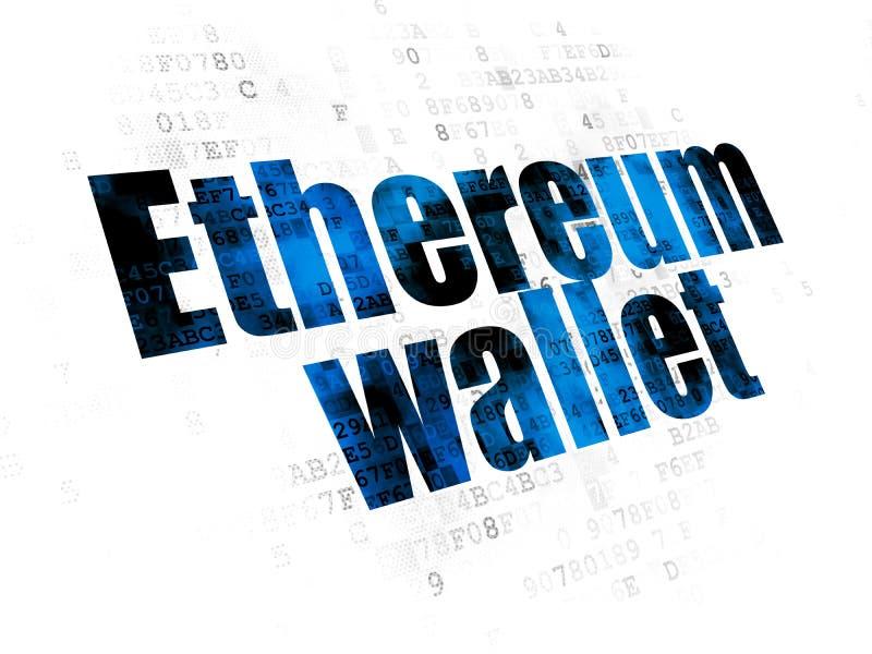 Έννοια Blockchain: Πορτοφόλι Ethereum στο ψηφιακό υπόβαθρο ελεύθερη απεικόνιση δικαιώματος