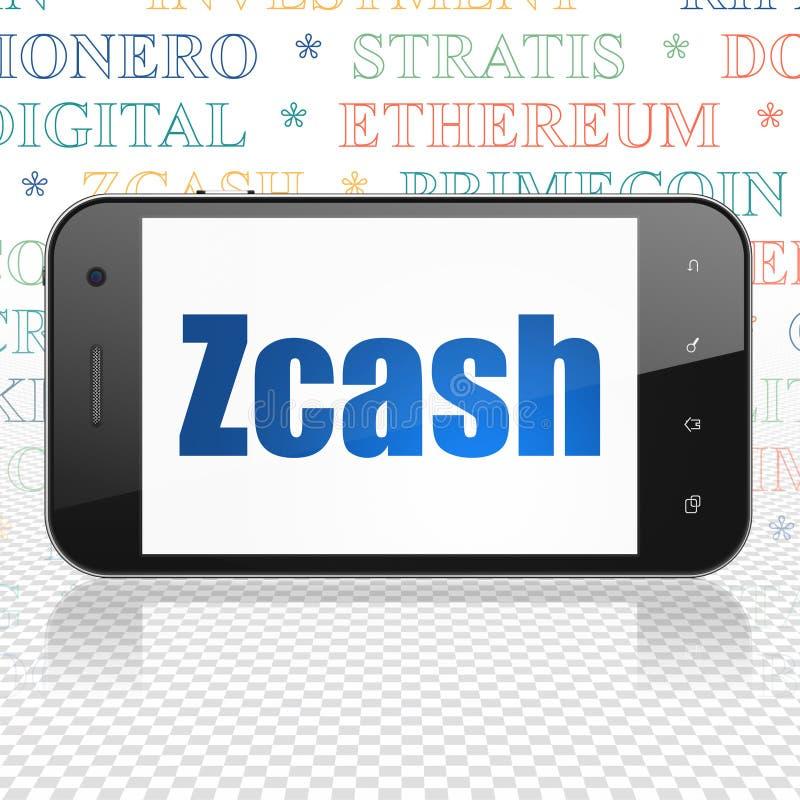 Έννοια Blockchain: Smartphone με Zcash στην επίδειξη διανυσματική απεικόνιση