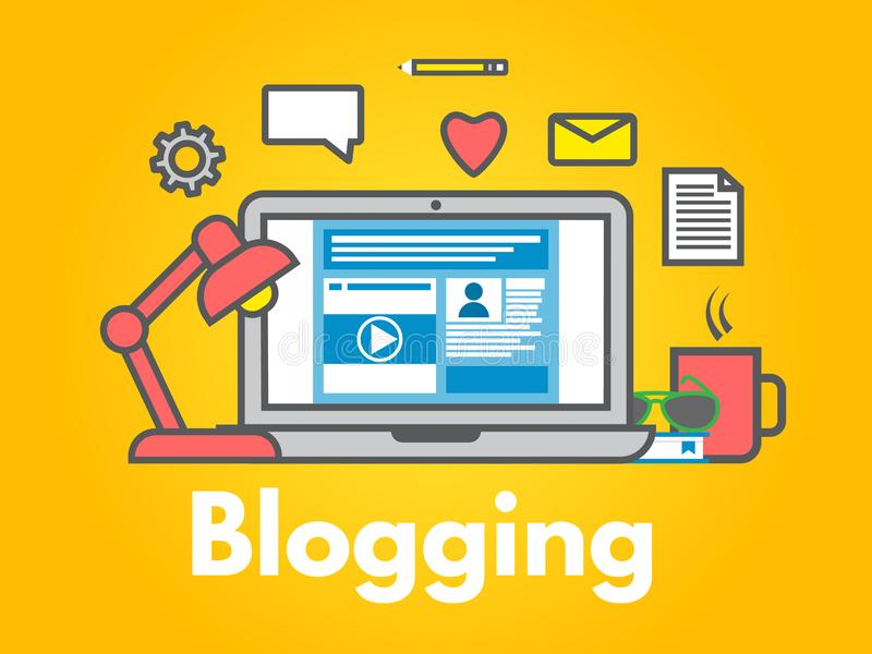 Έννοια Blogging στο κίτρινο υπόβαθρο Lap-top με τα εικονίδια Κοινωνική διανομή μέσων Μετα επίπεδο ύφος γραμμών Blog Επιχειρησιακό ελεύθερη απεικόνιση δικαιώματος