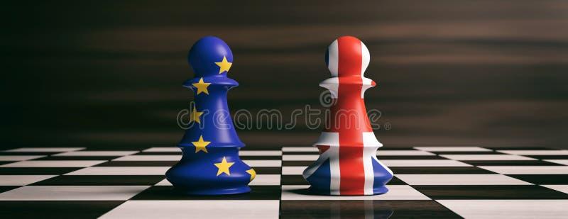 Έννοια Brexit Σημαίες της Ευρωπαϊκής Ένωσης του Ηνωμένου Βασιλείου και ενέχυρο σκακιού σε μια σκακιέρα τρισδιάστατη απεικόνιση ελεύθερη απεικόνιση δικαιώματος