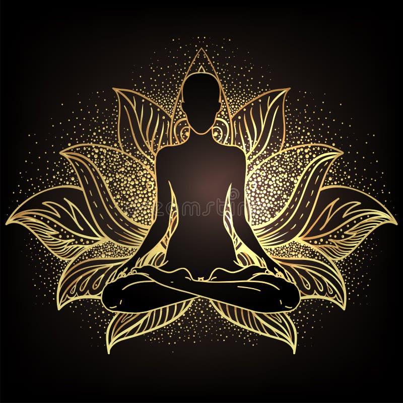 Έννοια Chakra Εσωτερική αγάπη, φως και ειρήνη Σιλουέτα Βούδα σε θέση λωτού πάνω από το διακοσμητικό μαντάλα Απεικόνιση διανύσματο ελεύθερη απεικόνιση δικαιώματος