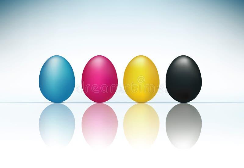 Έννοια CMYK με τρισδιάστατοι κυανός ροδανιλίνης κίτρινος αυγών και μαύρος διανυσματική απεικόνιση