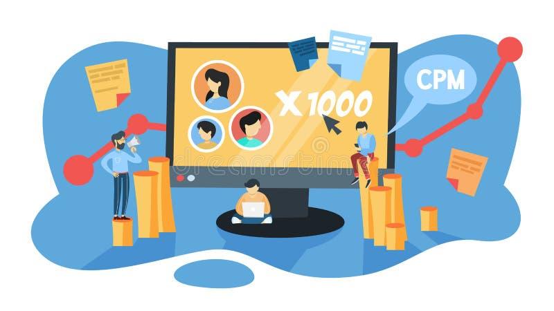 Έννοια CPM Κόστος ανά mille Προώθηση διαφήμισης και επιχειρήσεων διανυσματική απεικόνιση