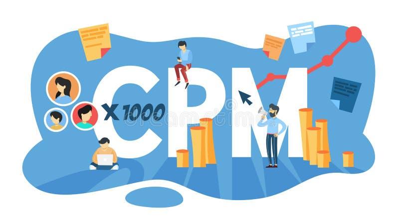 Έννοια CPM Κόστος ανά mille Προώθηση διαφήμισης και επιχειρήσεων απεικόνιση αποθεμάτων