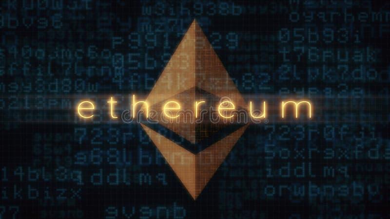 Έννοια crypto του νομίσματος, ethereum απεικόνιση αποθεμάτων