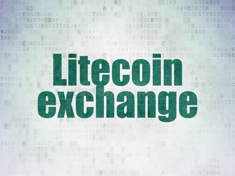 Έννοια Cryptocurrency: Ανταλλαγή Litecoin στο υπόβαθρο εγγράφου ψηφιακών στοιχείων διανυσματική απεικόνιση