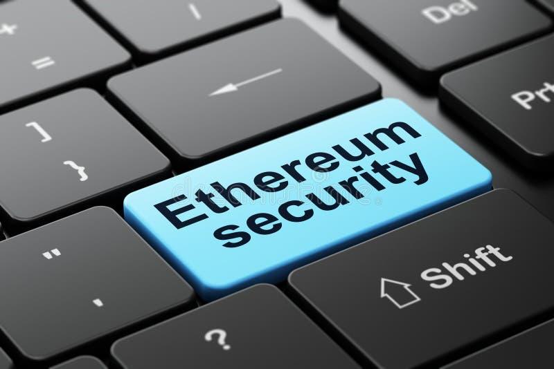 Έννοια Cryptocurrency: Ασφάλεια Ethereum στο υπόβαθρο πληκτρολογίων υπολογιστών ελεύθερη απεικόνιση δικαιώματος